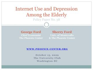 Internet Use and Depression Among the Elderly Policy Paper No. 38