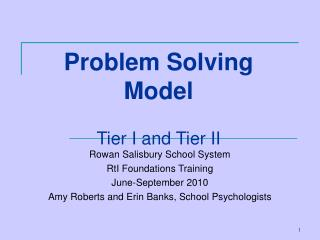 Problem Solving Model Tier I and Tier II