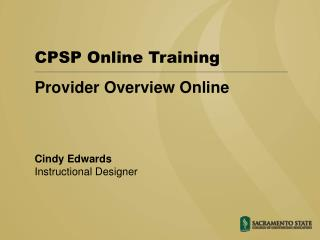Provider Overview Online