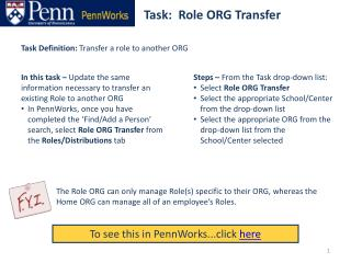Task:  Role ORG Transfer