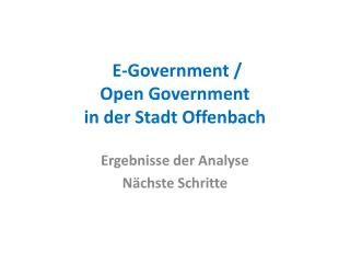 E-Government / Open Government in der Stadt Offenbach