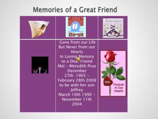 Memories of a Great Friend