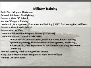 Military Training Basic Electricity and Electronics General Shipboard Fire Fighting
