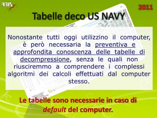 Tabelle  deco  US NAVY