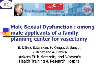 Male Sexual Dysfunction : among male applicants of a family planning center for vasectomy