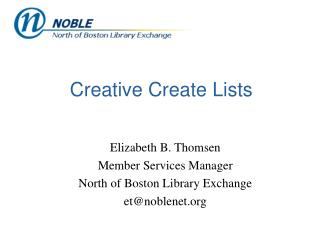 Creative Create Lists