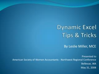 Dynamic Excel Tips & Tricks