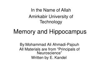 Memory and Hippocampus