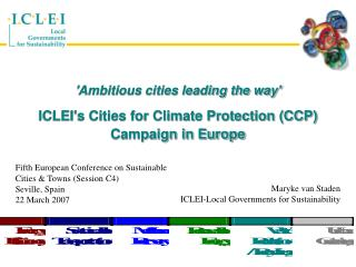 'Ambitious cities leading the way' ICLEI's Cities for Climate Protection (CCP) Campaign in Europe