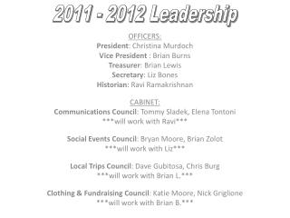 OFFICERS: President : Christina Murdoch Vice President  : Brian Burns Treasurer : Brian Lewis