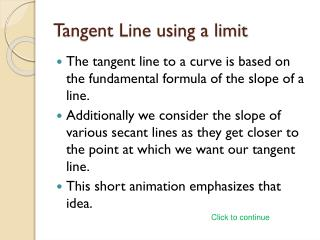 Tangent Line using a limit
