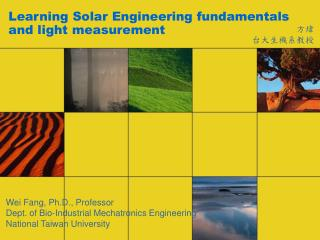 Learning Solar Engineering fundamentals and light measurement