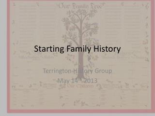 Starting Family History