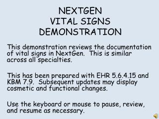 NEXTGEN VITAL SIGNS DEMONSTRATION