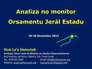 Analiza  no monitor Orsamentu Jerál Estadu