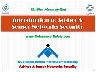 Introduction to Ad-hoc & Sensor Networks Security
