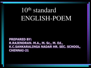 10 th  standard ENGLISH-POEM