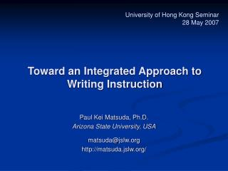 Toward an Integrated Approach to Writing Instruction