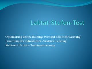 Laktat-Stufen-Test