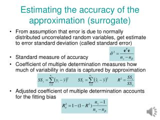 Estimating the accuracy of the approximation (surrogate)