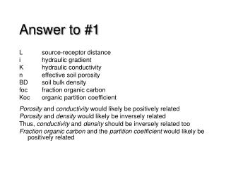 Answer to #1