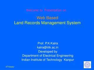 Web Based Land Records Management System