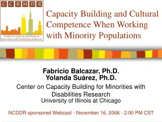Capacity Building and Cultural Competence When Working with Minority Populations