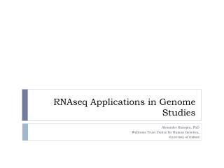 RNAseq Applications in Genome Studies