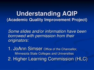 Understanding AQIP (Academic Quality Improvement Project)