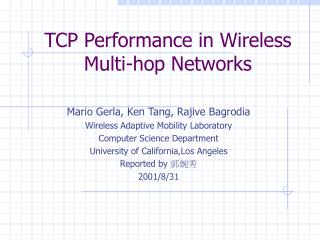 TCP Performance in Wireless Multi-hop Networks