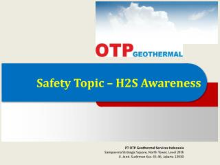 Safety Topic – H2S Awareness