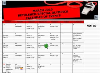 MARCH 2010 BETHLEHEM SPECIAL OLYMPICS  CALENDAR OF EVENTS