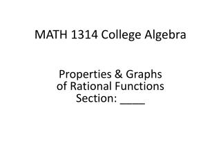 MATH 1314 College Algebra