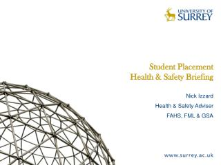 Student Placement  Health & Safety Briefing