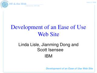 Development of an Ease of Use Web Site