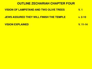 OUTLINE ZECHARIAH CHAPTER FOUR