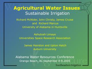 Agricultural Water Issues  Sustainable Irrigation
