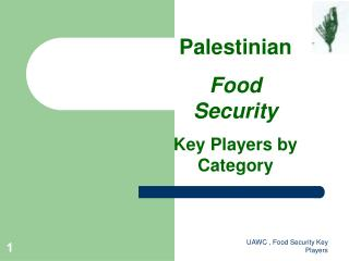 Palestinian Food Security Key Players by Category