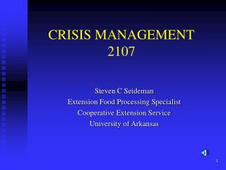 CRISIS MANAGEMENT 2107