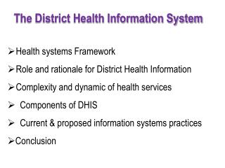 The District Health Information System