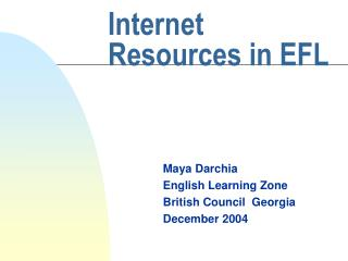 Internet Resources in EFL