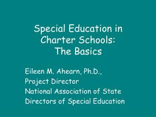 Special Education in  Charter Schools:  The Basics