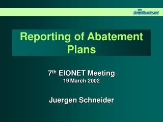 Reporting of Abatement Plans