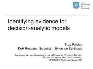 Identifying evidence for decision-analytic models