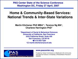PAS Center State of the Science Conference   Washington DC, Friday 27 April, 2007