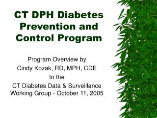 CT DPH Diabetes Prevention and Control Program