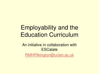 Employability and the Education Curriculum