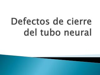 Defectos de cierre del tubo neural