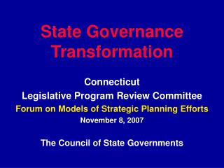 State Governance Transformation