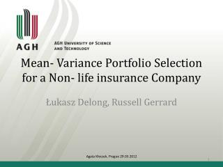 M ean -  Variance Portfolio Selection  for a Non- life insurance Company